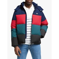 Lacoste Colour Block Puffer Jacket, Teal/Black/Pepper