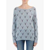360 Sweater Dawson Bull Skull Print Cashmere Jumper, Stonewashed