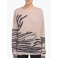 360 Sweater Molly Zebra Print Cashmere Jumper, Bisque/black