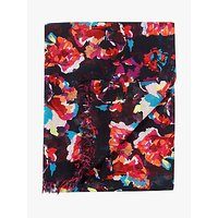 Pure Collection Ultra Soft Floral Scarf, Black Summer
