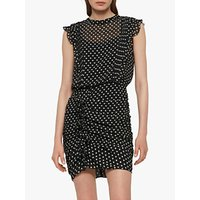 Allsaints Hali Valentine Heart Ruched Mini Dress, Black/white