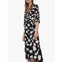 AllSaints Caro Floral Wrap Dress, Black