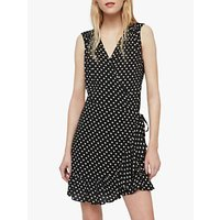 Allsaints Krystal Valentine Heart Ruffle Mini Dress, Black/white