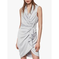 AllSaints Cancity Gathered Dress, Pale Grey
