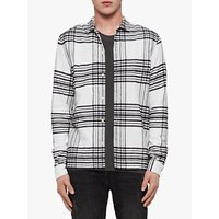 AllSaints Moritz Cotton Flannel Check Shirt, Black/White