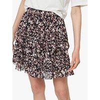 Allsaints Sanse Freefall Floral Ruffle Skirt, Black/multi