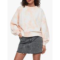 AllSaints Riso Tie Die Sweatshirt, Chalk/Bleach Pink