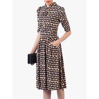 shop for Jolie Moi Print Tie Neckline Midi Dress, Black/Multi at Shopo