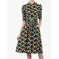 shop for Jolie Moi Geometric Print Tie Neckline Midi Dress, Teal/Multi at Shopo
