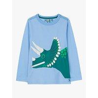 Little Joule Boys Zipadee Dinosaur Print T- Shirt, Light Blue