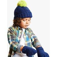 John Lewis & Partners Children's Nep Beanie And Gloves Set, Navy