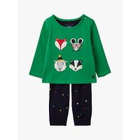 Baby Joule Byron Applique Animal Top and Trousers Set, Green/Navy