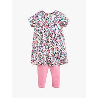 Baby Joule Christina Ditsy Floral Dress And Legging Set, White/Pink