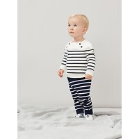 Baby Joule George Knitted Top and Trousers Set, Navy/Cream