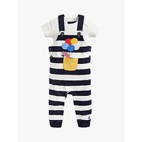 Baby Joule Wilber Jersey Stripe Dungaree and T-Shirt Set, Blue/White