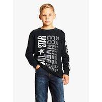 Converse Boys Remix Logo Print Long Sleeve T-Shirt, Black