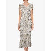 shop for Gina Bacconi Joan Midi Dress, Gold/Silver at Shopo