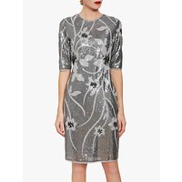shop for Gina Bacconi Joetta Sequin Dress, Silver at Shopo