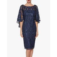 shop for Gina Bacconi Leilani Sequin Cape Sleeve Dress, Navy at Shopo
