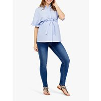 Mamalicious Molina Frill Blouse, Light Blue Chambray