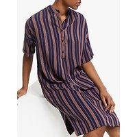Armedangels Maarjuli Stripe Dress, Evening Blue/maroon