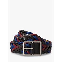 shop for Paul Smith Reversible Plaited Leather Belt, Black/Multi at Shopo