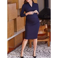Isabella Oliver Balcombe Ruched Midi Maternity Dress, Classic Navy