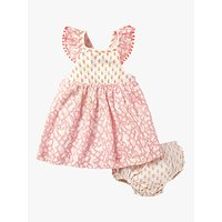 Mini Boden Baby Smocked Hotchpotch Dress and Knickers Set, Shell Pink Friends