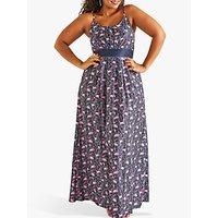 shop for Yumi Curves Flamingo Print Maxi Jersey Dress, Blue Multi at Shopo
