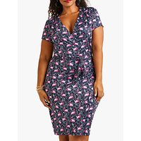 shop for Yumi Curves Flamingo Floral Jersey Dress, Navy Multi at Shopo