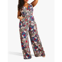 shop for Yumi Curves Stripe Floral Print Sleeveless Jumpsuit, Multi at Shopo