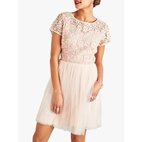 Yumi Floral Lace Top Dress, Blush