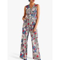 shop for Yumi Stripe Floral Print Sleeveless Jumpsuit, Multi at Shopo