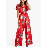 shop for Yumi Short Sleeve Blossom Jumpsuit, Red at Shopo