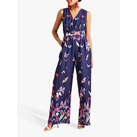 shop for Yumi Butterfly Print Sleeveless Jumpsuit, Navy at Shopo