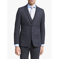 John Lewis and Partners Wool Check Slim Fit Suit Jacket, Navy