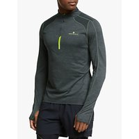 Ronhill Stride Thermal 1/2 Zip Running Top, Charcoal Marl/Florescent Yellow