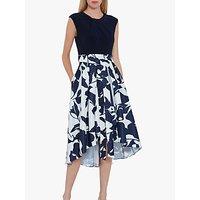 Gina Bacconi Gizela Floral Asymmetric Hem Dress, Navy/White