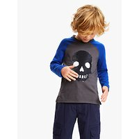 John Lewis and Partners Boys Sequin Skull T-Shirt, Grey