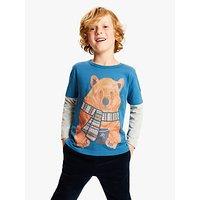 John Lewis & Partners Boys' Bear Print T-Shirt, Blue