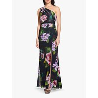 Adrianna Papell Petite One Shoulder Print Dress, Black/Multi