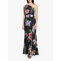 Adrianna Papell One Shoulder Print Dress, Black/Multi