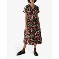 Toast Palm Print Cotton Poplin Dress, Olive