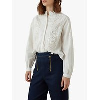 Karen Millen Broderie Cotton Shirt, White