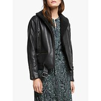 Just Female Billie Leather Sherpa Jacket, Black