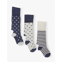 John Lewis & Partners Girls' Stars and Hearts Print Tights, Pack of 3, Multi