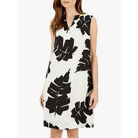 Jaeger Palm Print Linen Dress, Black/White