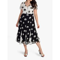 Chesca Button Pleat Hem Spot Dress, Black/Ivory