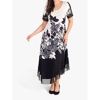 chesca Garland Floral Mesh Insert Maxi Dress, Ivory/Black