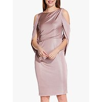 Image of Adrianna Papell Draped Cold Shoulder Short Dress, Pink Quartz